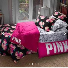 ISO It's a floral comforter with black backdrop PINK Victoria's Secret Other