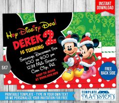 Mickey Mouse Christmas Bday Party Invitation Template Mansion Birthday  Party Invite Sample.
