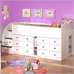 Berg Furniture Sierra Kids Wood Captain's Bed with Storage and Stairs 4 Piece Bedroom Set. The price is dreadful, but what a great idea for people with limited space or a lot of kids. This could be a DIY project and made with dressers and plywood, then painted.....