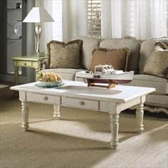 Summer Home Rectangular Coffee Table in Shell | Nebraska Furniture Mart