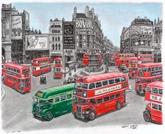 Autobuses en Piccadilly Circus, Londres 1949
