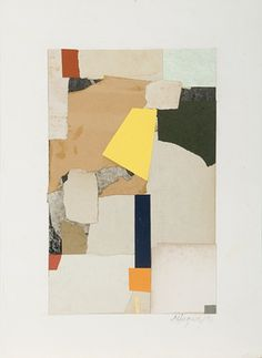 Timothy Harney Walking In... 2011 mixed media collage on antique paper 13 1/2 x 10""