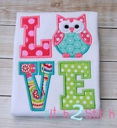 Owl Love Applique - 2 Sizes! | Featured Products | Machine Embroidery Designs | SWAKembroidery.com