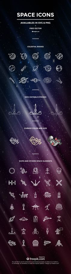 The Space Icon Set (50 Icons, SVG & PNG) SVG, PNG