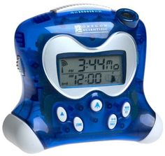 Oregon Scientific RM313PNA Self-Setting Projection Alarm Clock with Indoor Thermometer  Blue: http://www.amazon.com/Oregon-Scientific-RM313PNA-Self-Setting-Thermometer/dp/B00005B0BE/?tag=utilis-20