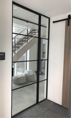 Drzwi Loftowe - Industrialne | Drzwi wewnętrzne - zabudowy szklane - drzwi loft - podłogi Loft, Mirror Door, Steel Doors, Diy Home Crafts, Glass Door, Sweet Home, Living Room, Nice, Furniture