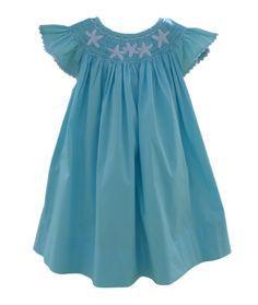 Aqua Starfish Smocked Angel-Sleeve Dress- Infant & Toddler