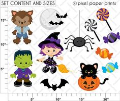 Scary Friends Halloween Clip art and Digital paper set