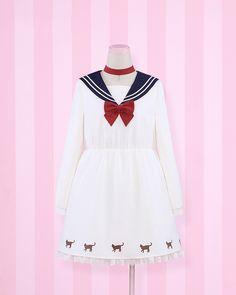 Aliexpress.com : Buy Super Cute Girls Sailor Moon Luna Cat Design Sailor Collar Dress Navy Preppy Style Long Sleeves Harajuku Lolita Dress from Reliable lolita dress suppliers on Meow Girl  | Alibaba Group