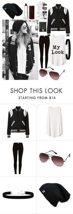 """My style "" by she-fashionlove ❤ liked on Polyvore featuring Yves Saint Laurent, Gap, River Island, Ray-Ban, 2028 and Maybelline"