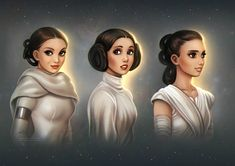d a e k a z u- Star Wars Generations: Rey, Leia and Padme - I love how they are connected! Note how all of them have brown eyes and hair and, well at least Leia and Pamde are of short stature. Star Wars Meme, Star Wars Fan Art, Star Wars Rebels, Theme Star Wars, Star Trek, Rey Star Wars, Clone Wars, Look Star, Princesa Leia