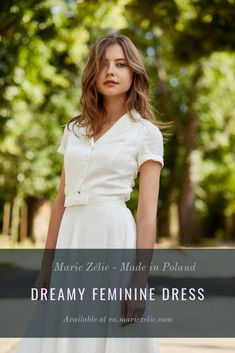 Indis is a white, short sleeve, pleated dress featuring a button closing at the front and an additional belt to tie around your waist. It moves organically with the body, very comfortable to wear and figure flattering. Feminine Dress, White Dress, Belt, Tie, Button, Sleeves, How To Wear, Dresses, Belts