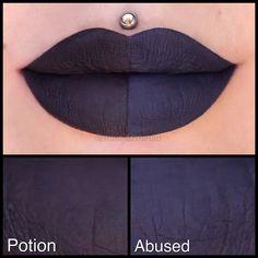 Comparison shot of @anastasiabeverlyhills 'Potion' liquid lipstick & @jeffreestarcosmetics Velour Liquid Lipstick 'Abused'