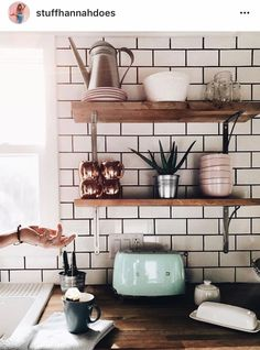 Small shelves in kitchen