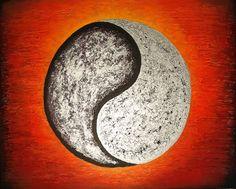 Balanse (yin/yang) 40x50 cm.Akryl på lerret m/ strukturer (mixed media). Bildet går i fargene:Gulorange, orange, rødorange, sølv, lilla, sort. For å se detaljer eller strukturer osv. i maleriet, kan duklikke opp bildetog bevege musepekeren over bildet. Yin Yang, Norway, Abstract Art, Celestial, Abstract, Photo Illustration