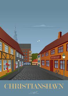 Christianshavn plakat - Køb den her! Europe, Copenhagen Denmark, My Heritage, Vintage Travel Posters, Illustrations And Posters, Uganda, All Over The World, Travel Inspiration, Skyscraper