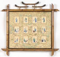 """CHINE, CANTON, fin XIXe Série de douze miniatures à la gouache sur papier de riz [...], mis en vente lors de la vente """"Tableaux, Arts d'Asie, Mobilier & Objets d'Art"""" à Hôtel des Ventes Giraudeau   Auction.fr"""