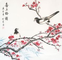 Chinese Plum Blossom Bird and Flower x x Painting. Buy it online from InkDance Chinese Painting Gallery, based in China, and save Japanese Plum, Japanese Cat, Chinese Painting Flowers, Japanese Painting, Plum Paint, Cherry Blossom Images, Painting Gallery, Chinese Art, Chinese Style