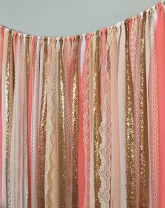 Coral, Peach & Gold Sparkle Sequin Garland Curtain with Lace - Nursery Decor, Curtain, Crib Garland, Window Treatment Gold Rooms, Gold Bedroom, Peach Bedroom, Nursery Decor, Bedroom Decor, Nursery Crib, Garland Nursery, Bedroom Ideas, Photo Booth Background