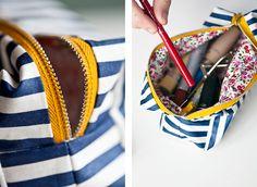DIY mini boxy makeup bag. Perfect sewing project for beginners, fantastic tutorial