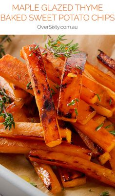 Maple Glazed Thyme Baked Sweet Potato Chips - These baked chips ...