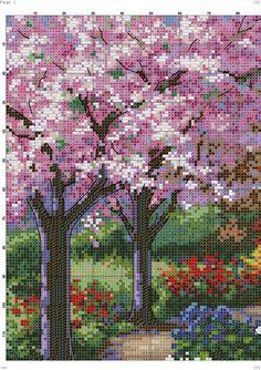 Lovely cherry trees X-stitch pattern Cross Stitch House, Cross Stitch Tree, Cross Stitch Bookmarks, Cross Stitch Flowers, Cross Stitch Charts, Cross Stitch Designs, Cross Stitching, Cross Stitch Embroidery, Art Village