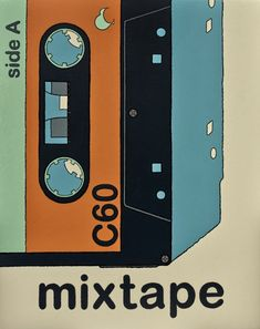 Mixtape, new retro print by Hamish Allan on sale at New Zealand Fine Prints Period Color, White Box Frame, New Zealand Landscape, Nz Art, New Print, Retro Print, Wall Art For Sale, Retro Illustration, Sale Poster