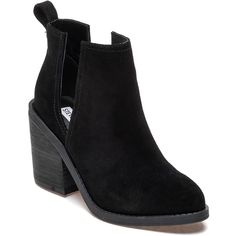 STEVE MADDEN Sharini Black Suede Bootie ($109) ❤ liked on Polyvore featuring shoes, boots, ankle booties, black suede, black high heel booties, black ankle booties, ankle boots, black high heel boots and suede booties