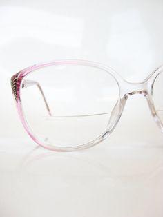 13e99cdf3f74 Vintage 1980s Eyeglasses Ladies Pink Eyeglass Frames 80s Oversized Sunglass  Optical Indie Hipster Pastel Bubblegum