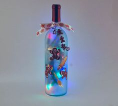 Christmas decoration wine bottle light by LightBottlesByVicki