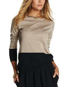 Peyote & Black Color Block Amelia Sweater #zulily #zulilyfinds