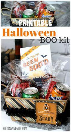 Creative Halloween BOO Kit  with Printable.  Fill box with Halloween treats, add…
