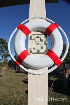 Number 3 Sign, Nautical Party Decoration - GlueGunDiva.com