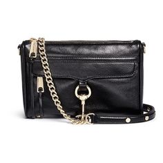 Rebecca Minkoff 'M.A.C.' mini leather crossbody bag (10.400 RUB) ❤ liked on Polyvore featuring bags, handbags, shoulder bags, black, genuine leather shoulder bag, leather shoulder handbags, mini crossbody purse, leather purses and leather cross body handbags