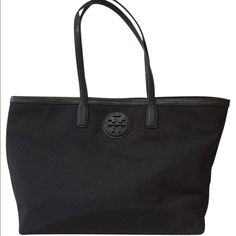 NeW Tory BURCH Tote Brand new with tags Authentic Tory BURCH Tote. Beautiful black nylon easy to clean material with black leather straps and trim. Very spacious, good carry as a shopper, beach or gym bag. Tory Burch Bags Totes
