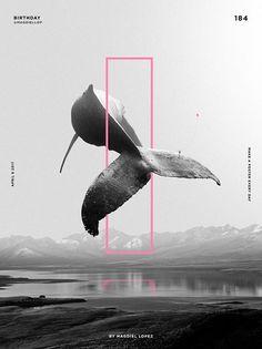 """Magdiel Lopez, """"Birthday"""". Arte, ilustración, poster, paisaje surreal, ballenas."""