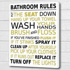 Bathroom Rules Wall Art Box Canvas   Gold/Black A3 12x16 Inch Cheryl  Monaghan Http Part 87