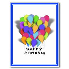 SOLD !  Happy #Birthday Balloons for Boy (Blue Trim) Post Card  #BirthdayWishes  shipping to Clatskanie, OR