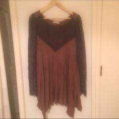 Free people lace tunic top! Gorgeous!!! The color is a blush tone with charcoal lace. Free People Tops Tunics