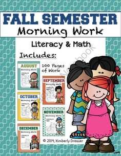 MEGA Bundle of Morning Work, Kindergarten. 100 Pages! - The first 100 pages of morning work for the year! A new, leveled worksheet for every school day in the fall semester. These pages gradually increase in difficulty and are aligned with Common Core. Also good for homework and remediation. .  A GIVEAWAY promotion for Fall Semester MEGA Bundle of Morning Work, Kindergarten Edition! CCSS from Kimberly's Kindergarten on TeachersNotebook.com (ends on 8-3-2014)