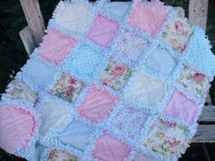 Cottage Chic Baby Girl Rag Quilt Shabby Pink by SunflowerRagWorks, $65.00