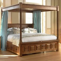 With its effortless elegance, the fine looking County Kerry four-poster bed brings warmth and style to your home. Hand-built in solid wood by UK craftsmen. Bunk Bed Curtains, Wood Canopy Bed, Canopy Beds, Dining Room Furniture Design, Bedroom Furniture Sets, Wooden Furniture, Small Room Bedroom, Bedroom Sets, Bedrooms