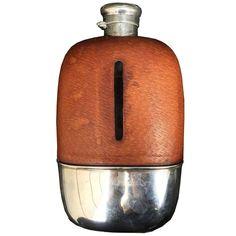 Century American Silver and Leather Safari Flask by Gorham, circa 1920 Antique Furniture, Modern Furniture, Silver Lanterns, Silver Accessories, Bottle Holders, Safari, Barware, Fine Jewelry, Ceramics