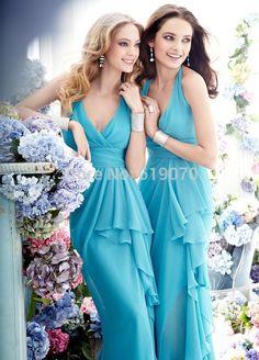chiffon bridesmaid dresses,halter bridesmaid dresses,blue bridesmaid dresses
