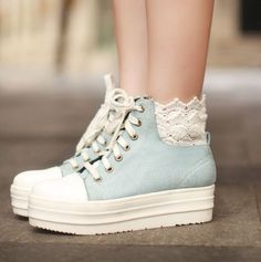 Baby blue sneakers with lace tops different Japanese styles and some Korean ones too
