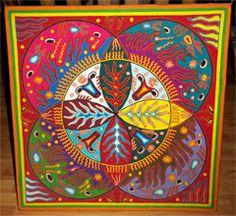 The Four Cardinal Points of the World. Huichol yarn painting by Jose Benitez Sanchez Nayarit, Mexico, c. Yarn Painting, Silk Painting, Huichol Art, Indian Art Gallery, Mexican Artwork, Art Tribal, Textile Fiber Art, Indiana, Indigenous Art