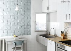 Magical 3 Curve Sky Blue / Evolution Blanco Brillo, Sky Blue 15x15 cm. #3d, #3d relief tile, #architecture, #design, #interior design, #relief tile, #shape, #trend, #vanguard, #wall tile, #hexagon tile, #square, #vanguard, #wall tile, #basic color, #form, #geometric, #magical, #monochromatic, #white paste 3D wall cladding, #equipe, #equipe cerámicas, 3D wall tile, #ceramic materials, #indoor
