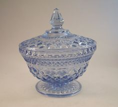 Wexford blue glass lidded candy dish - 1960's Anchor Hocking - VGC by Shafada on Etsy.com