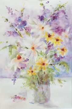 Spring Bouquet Garden flowers Original Watercolor by PatChoffrut, $300.00