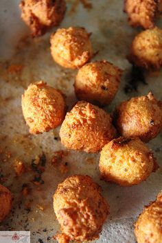 GOAT CHEESE HUSHPUPPY ~~~ the recipe's author was at a wedding and tasted a version of this hushpuppy that was also stuffed with short ribs. excuse me as i freak out ♥ [heatherchristo]